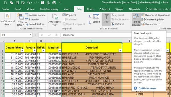 Rozdělení textu do více sloupců v MS Excel - Jubela s.r.o.