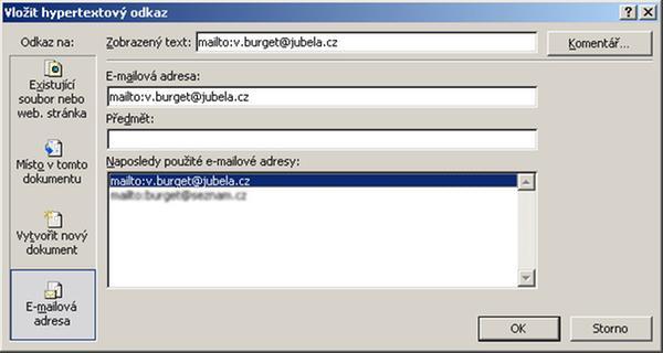 Hypertextové odkazy v MS Excel - JUBELA, s.r.o.