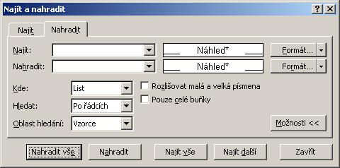 Excel - nahrazování